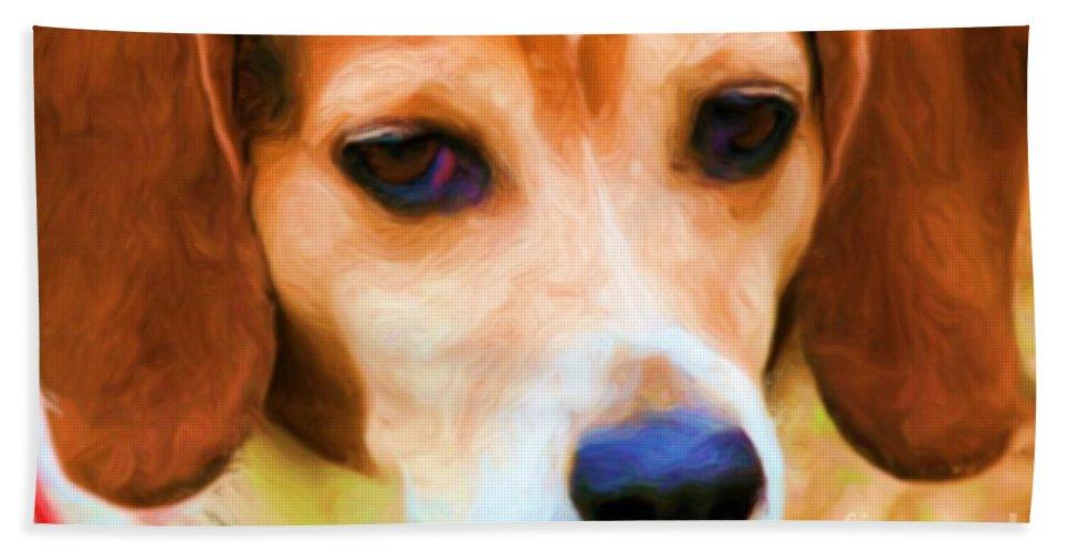 Animal Bath Sheet featuring the painting Sad Eyes by Smilin Eyes Treasures