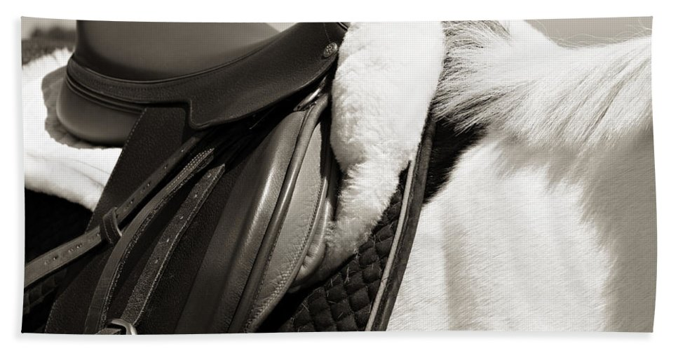 Horse Bath Towel featuring the photograph Saddle And Softness by Marilyn Hunt