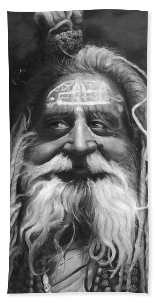 Sadhu Hand Towel featuring the painting Sadhu by Portraits By NC