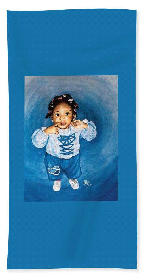 Child Hand Towel featuring the pastel Sadie by Gale Cochran-Smith