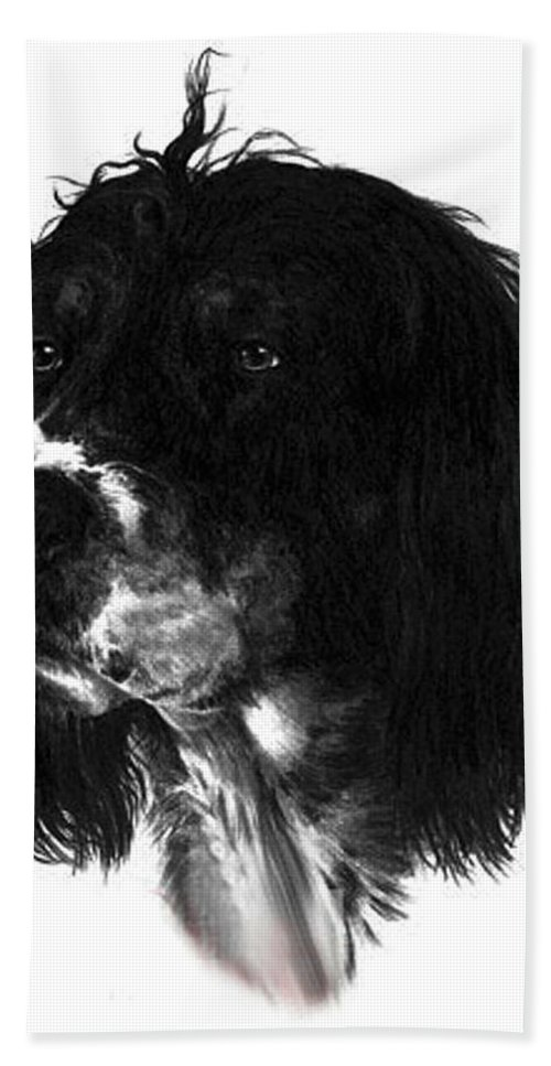 Portrait Hand Towel featuring the drawing Sadie by Rachel Christine Nowicki