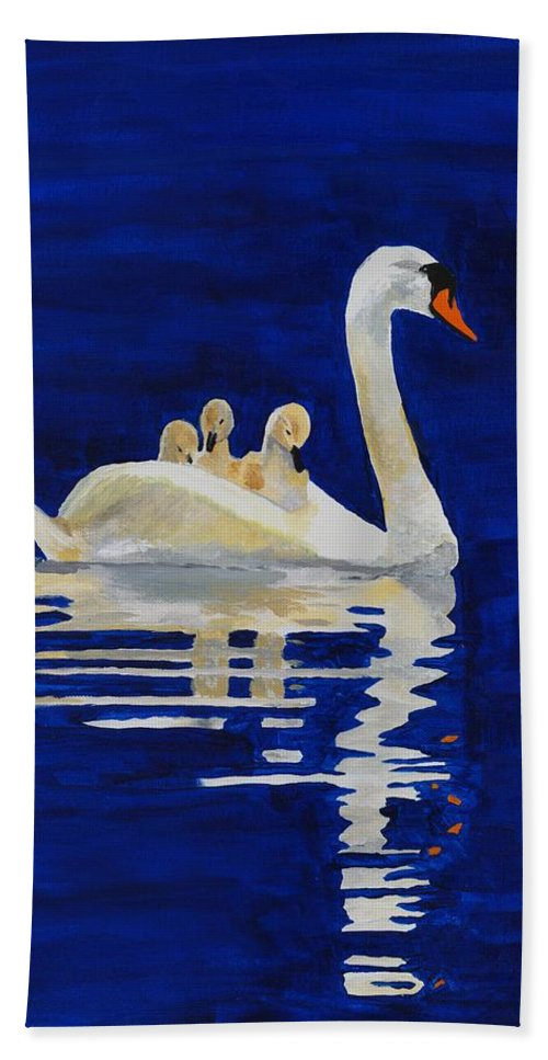 Swan Bath Sheet featuring the painting Safe Harbor by Rodney Campbell