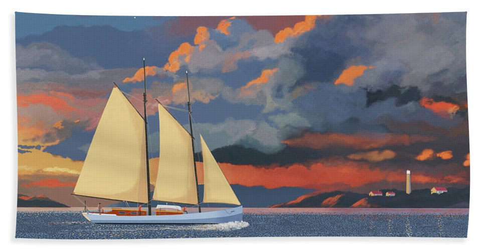 Schooner Yawl Sloop Ketch Sailing Sailor Ship Boat Freighter Sailing Ocean Sea Lake Stream River Cargo Storm Stormy Clouds Thunder Lightening Bath Towel featuring the digital art Safe haven by Gary Giacomelli