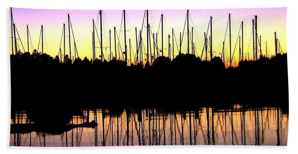 Sailboats Bath Towel featuring the photograph Safe Haven by Will Borden