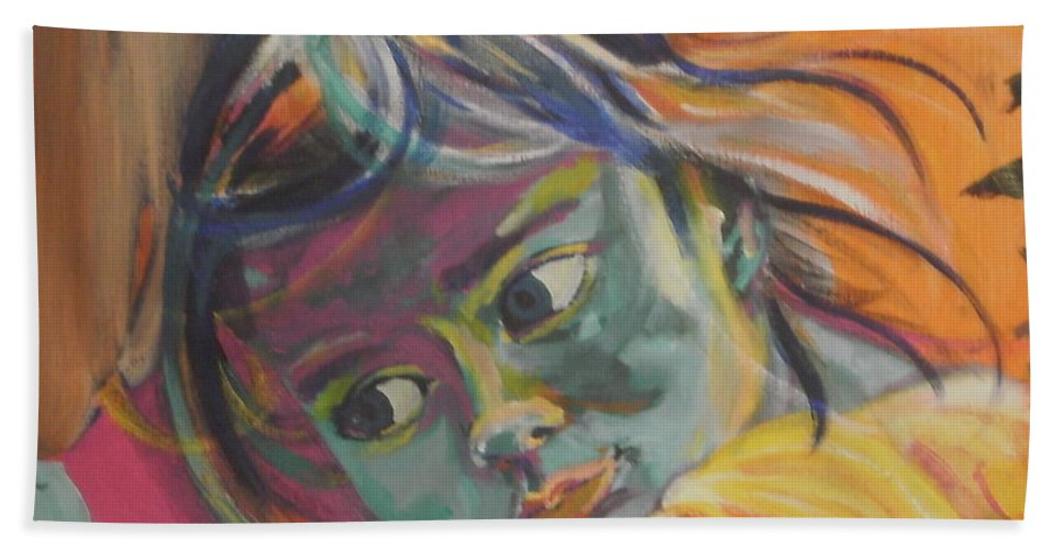 Child Hand Towel featuring the painting Safe In The Arms Of Grandma by Karin McCombe Jones