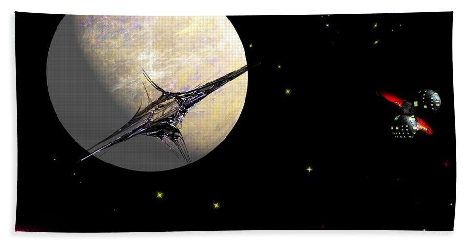 Abstract Bath Towel featuring the digital art Sagan Station At Betelgeuse IIi by David Lane