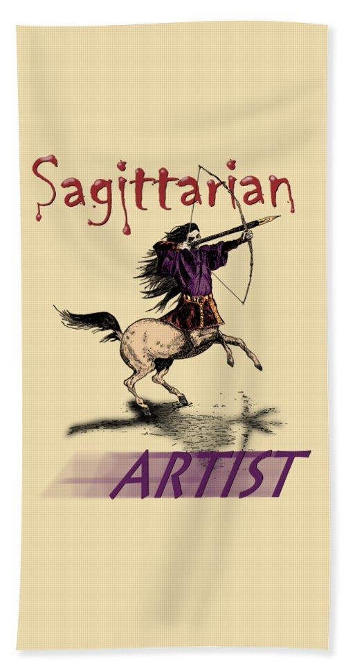 T-shirt Hand Towel featuring the drawing Sagittarian Artist by Joseph Juvenal