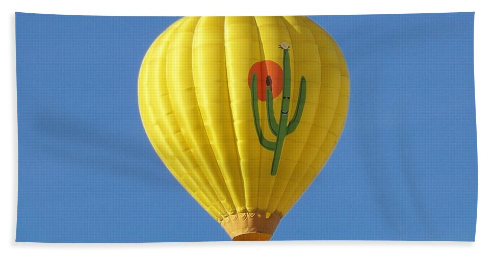 Hot Air Balloon Festival Hand Towel featuring the photograph Saguaro Balloon by Adrienne Wilson
