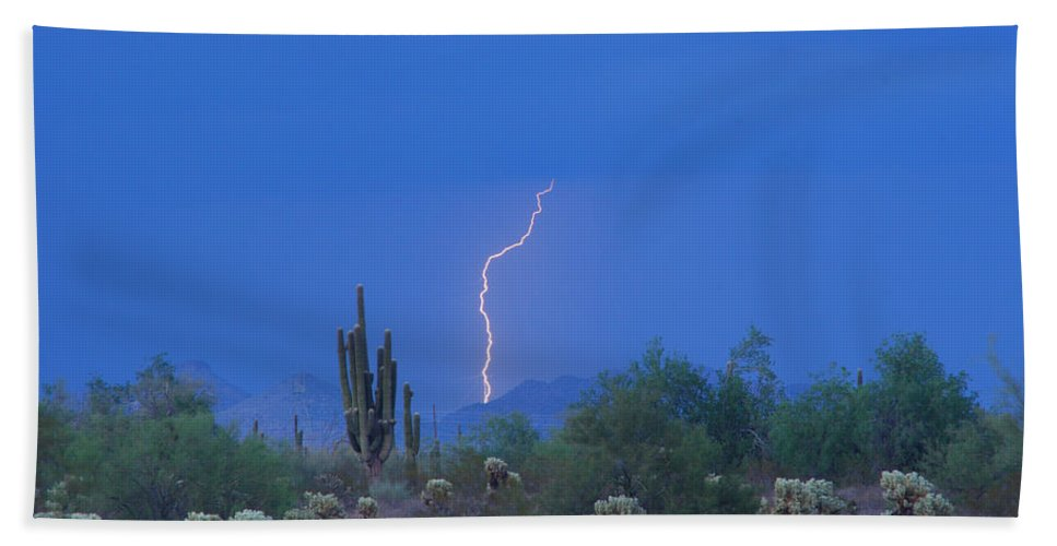 Lightning Bath Towel featuring the photograph Saguaro Desert Lightning Strike Fine Art by James BO Insogna