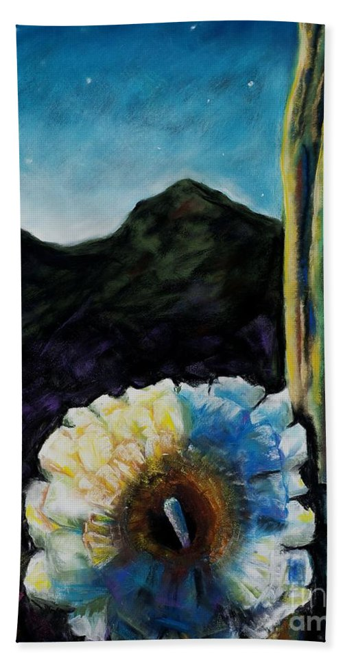 Desert Bath Towel featuring the painting Saguaro In Bloom by Frances Marino
