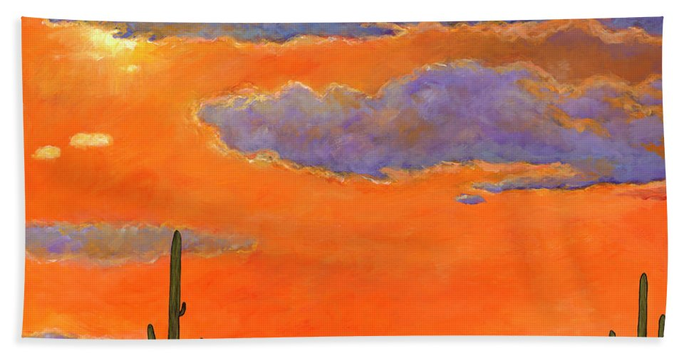 Southwest Art Bath Towel featuring the painting Saguaro Sunset by Johnathan Harris