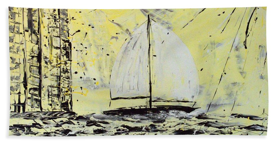 Sailboat With Sunray Hand Towel featuring the painting Sail And Sunrays by J R Seymour