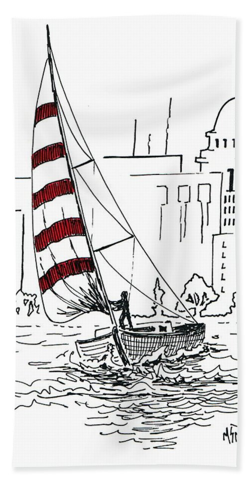 Sail Boat Bath Sheet featuring the drawing Sail Away by Marilyn Smith