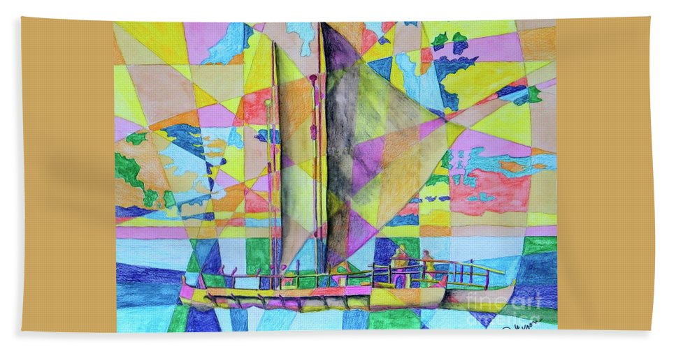 Sails Bath Sheet featuring the painting Sail Away Sunset by Dale Jackson