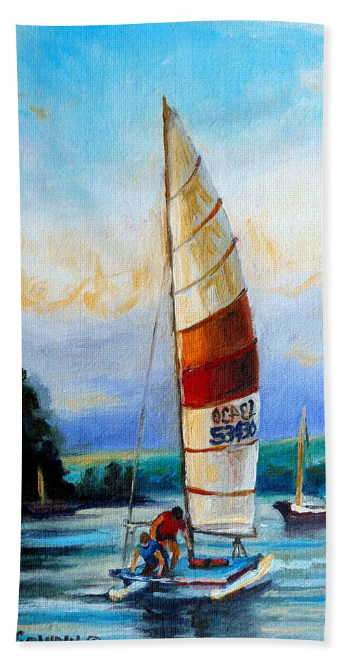 Sail Boats On The Lake Hand Towel featuring the painting Sail Boats On The Lake by Carole Spandau