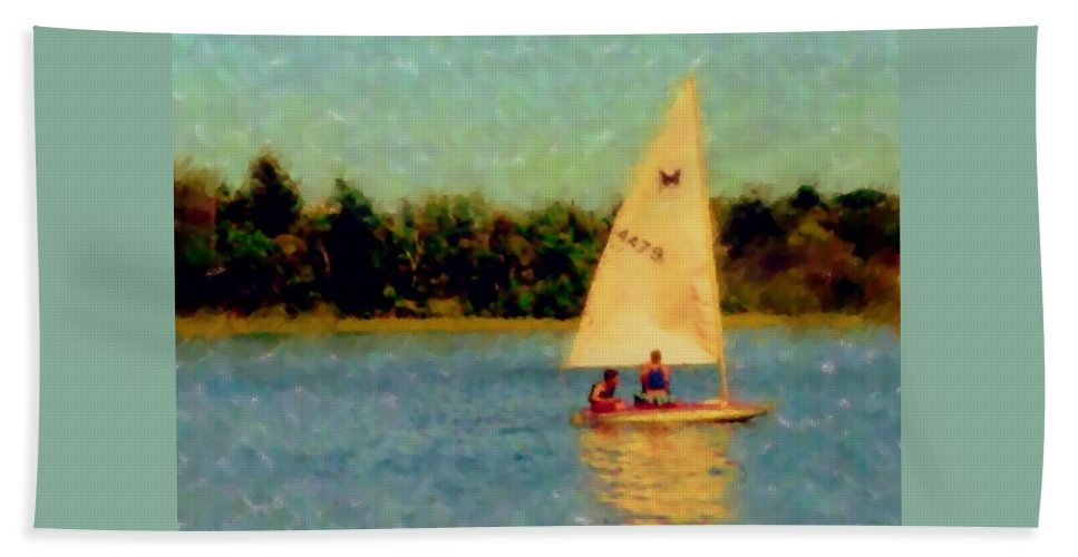 Sailboat Hand Towel featuring the digital art Sailboat by Anita Burgermeister