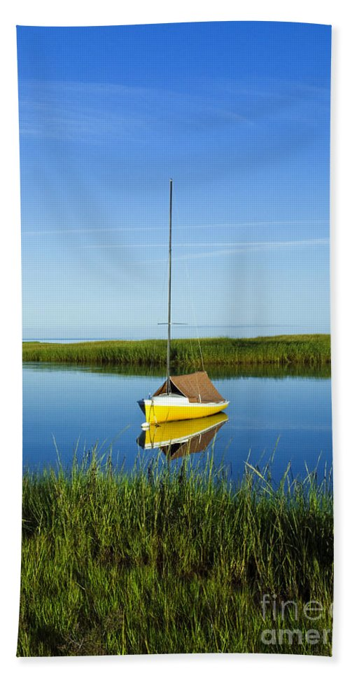 cape Cod Bath Sheet featuring the photograph Sailboat In Cape Cod Bay by John Greim