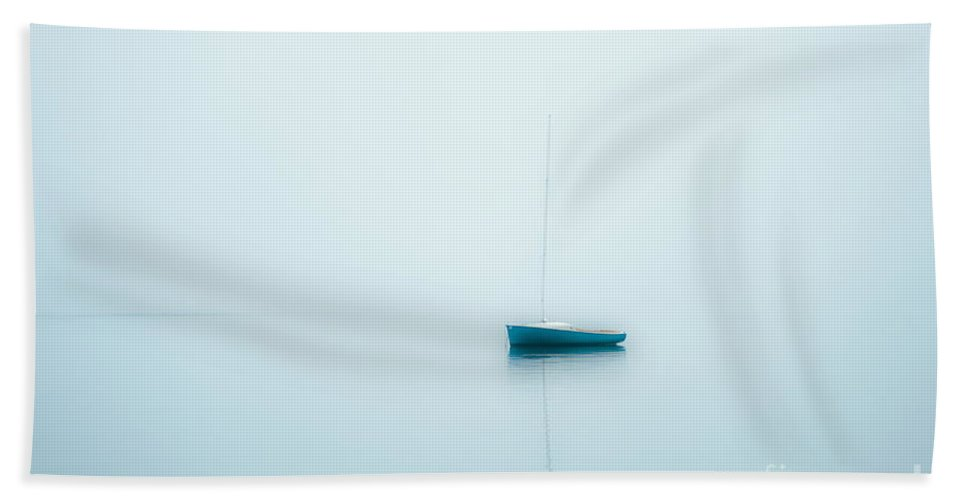 Nobody Hand Towel featuring the photograph Sailboat In Fog by John Greim