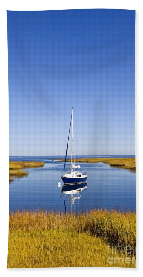 Nobody Bath Sheet featuring the photograph Sailboat In Salt Marsh by John Greim
