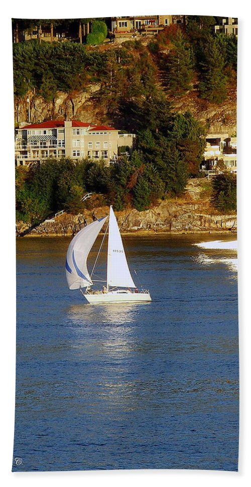 Sailboat Hand Towel featuring the photograph Sailboat In Vancouver by Robert Meanor