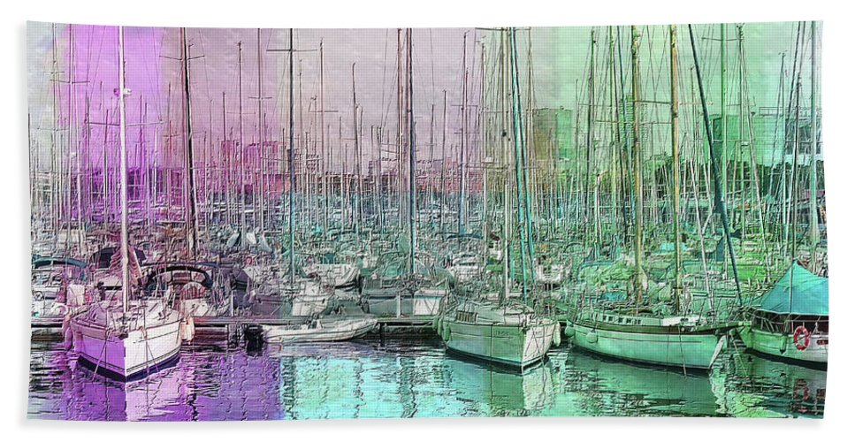 Boats Bath Sheet featuring the painting Sailboat Lineup - Watercolor by Ericamaxine Price