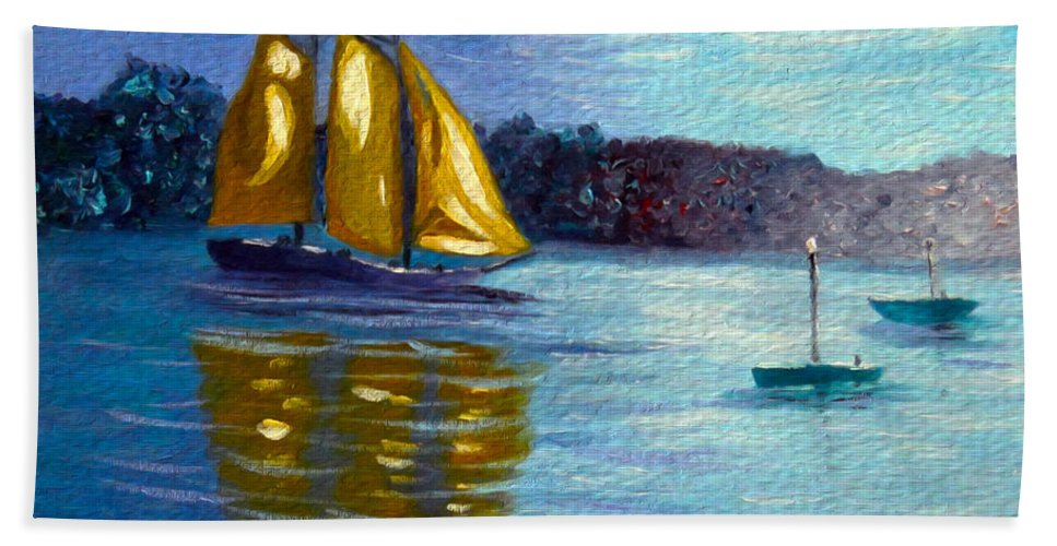 Sailboat Hand Towel featuring the painting Sailboat- Sailing- Come Sail Away by Kathy Symonds