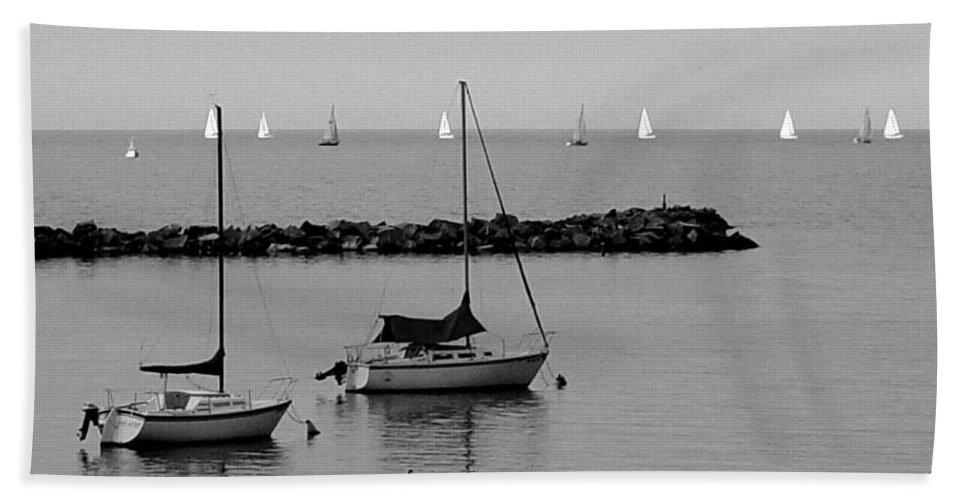 Sailboats Hand Towel featuring the photograph Sailboats And Ducks B-w by Anita Burgermeister