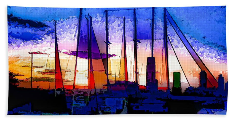 Marina Hand Towel featuring the photograph Sailboats At Rest by Susan Eileen Evans