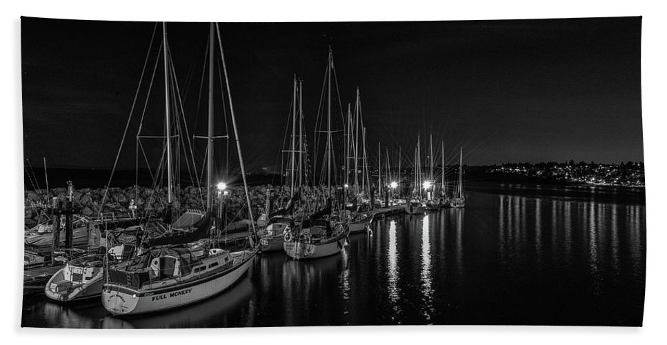 B&w Bath Sheet featuring the photograph Sailboats Moored For The Evenin by Gabor Dosa