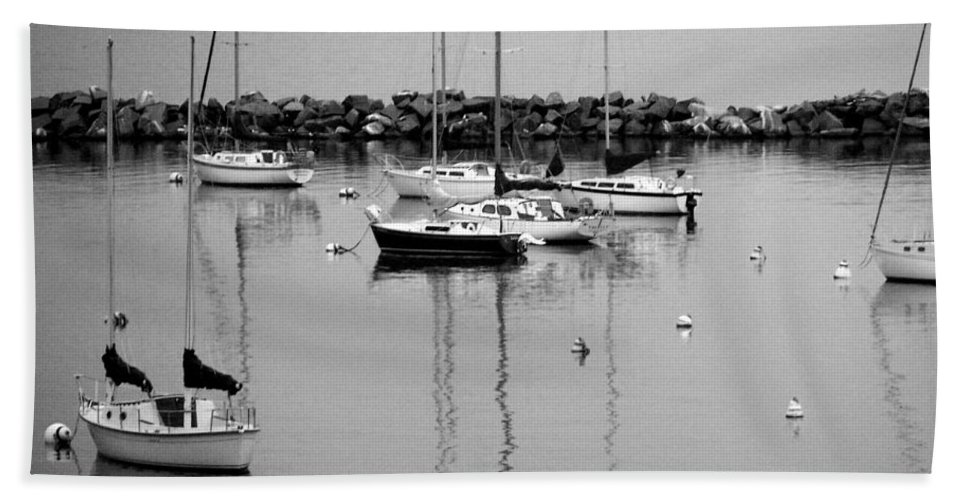 Sailboats Hand Towel featuring the photograph Sailboats Resting B-w by Anita Burgermeister