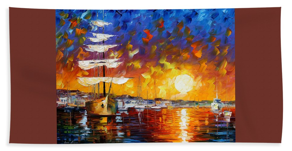 Boat Bath Sheet featuring the painting Sailer by Leonid Afremov