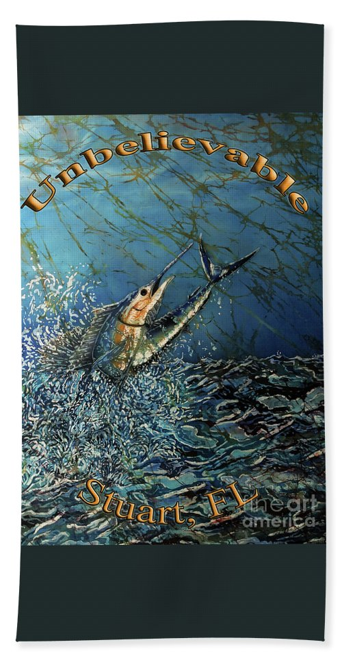 Sailfish Hand Towel featuring the painting Sailfish - Unbelievable by Sue Duda