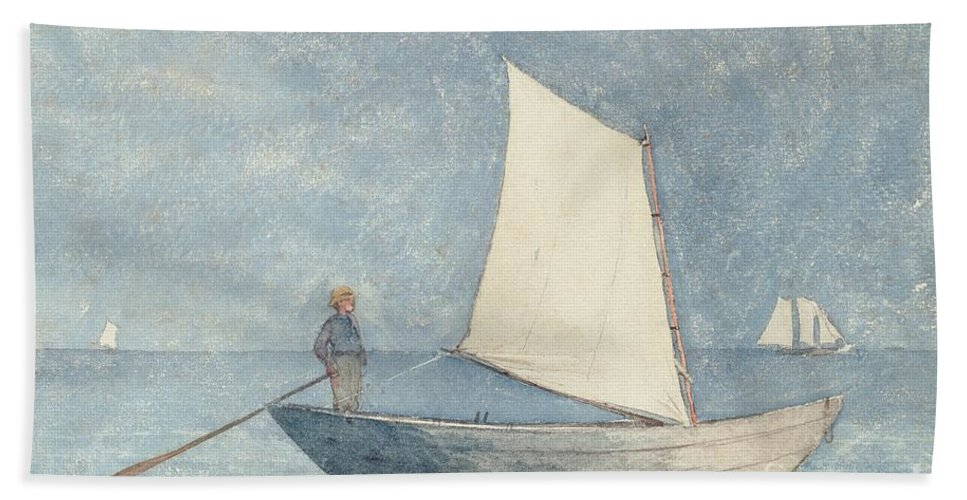 Boat Bath Towel featuring the painting Sailing A Dory by Winslow Homer