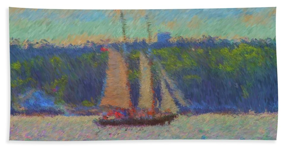 Sailing Maine Bath Sheet featuring the painting Sailing Aboard Sarah Mead At Spruce Point Boothbay Harbor Maine by Viktor Arsenov