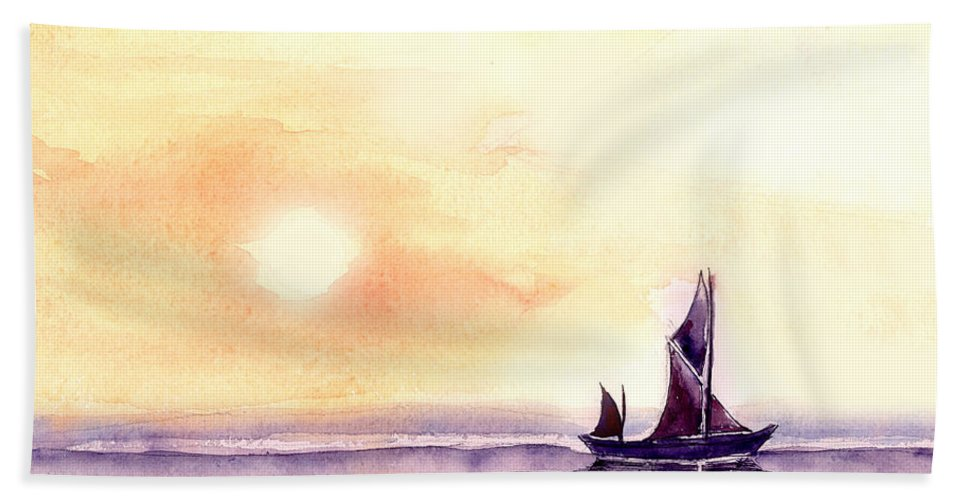 Nature Hand Towel featuring the painting Sailing by Anil Nene
