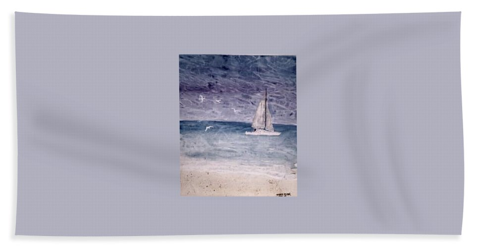 Watercolor Seascape Sailing Boat Landscape Painting Hand Towel featuring the painting SAILING AT NIGHT nautical painting print by Derek Mccrea