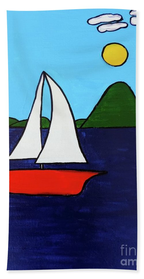 Sailing Hand Towel featuring the painting Sailing Away by Sean Brushingham