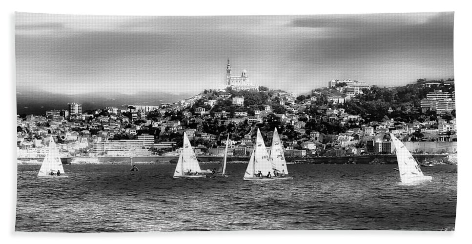 Nature Hand Towel featuring the photograph Sailing Boat Black-and-white by Jean Francois Gil