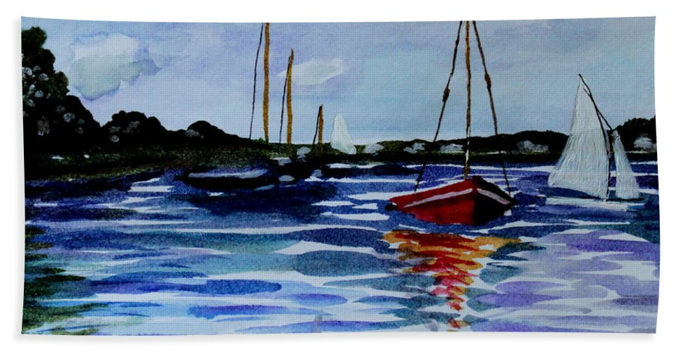 Sailing Hand Towel featuring the painting Sailing Day by Elizabeth Robinette Tyndall