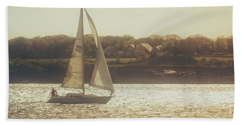 Lake Bath Sheet featuring the photograph Sailing by Emily Kay