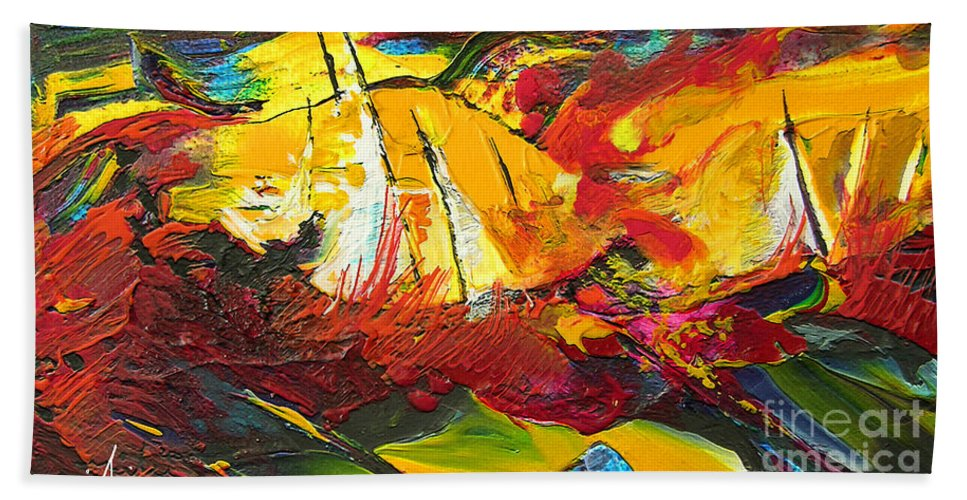 Sailing Bath Sheet featuring the painting Sailing Impression 01 by Miki De Goodaboom