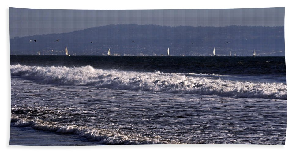 Clay Hand Towel featuring the photograph Sailing In Santa Monica by Clayton Bruster
