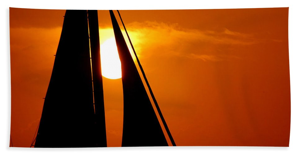 Photography Hand Towel featuring the photograph Sailing Into The Sunset by Susanne Van Hulst