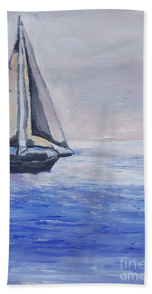 Sunset Hand Towel featuring the painting Sailing Off Cape May Point by Eric Schiabor