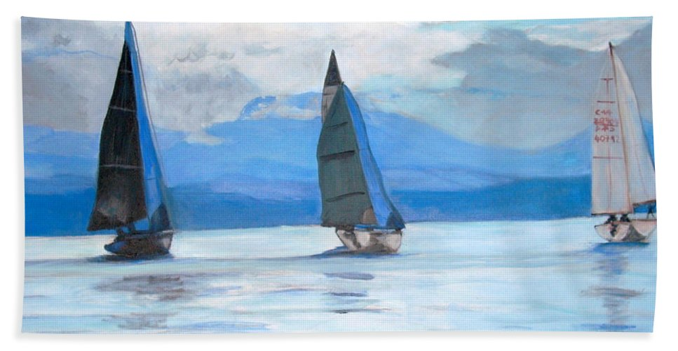 Boat Hand Towel featuring the painting Sailing Race by Teresa Dominici