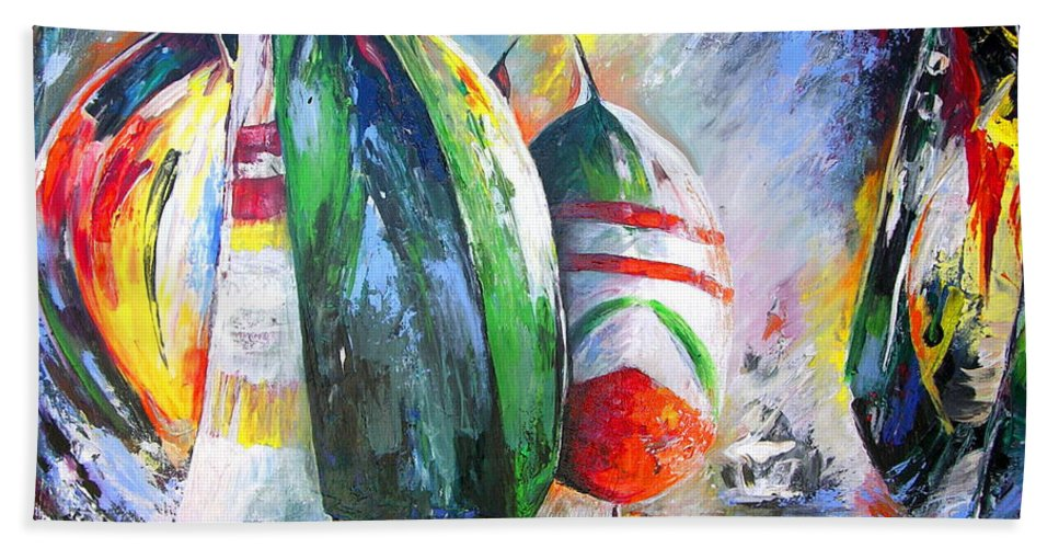 Sailing Boats Painting Bath Sheet featuring the painting Sailing Regatta by Miki De Goodaboom