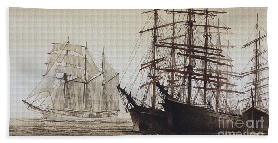 American Marine Artist Hand Towel featuring the painting Sailing Ships by James Williamson