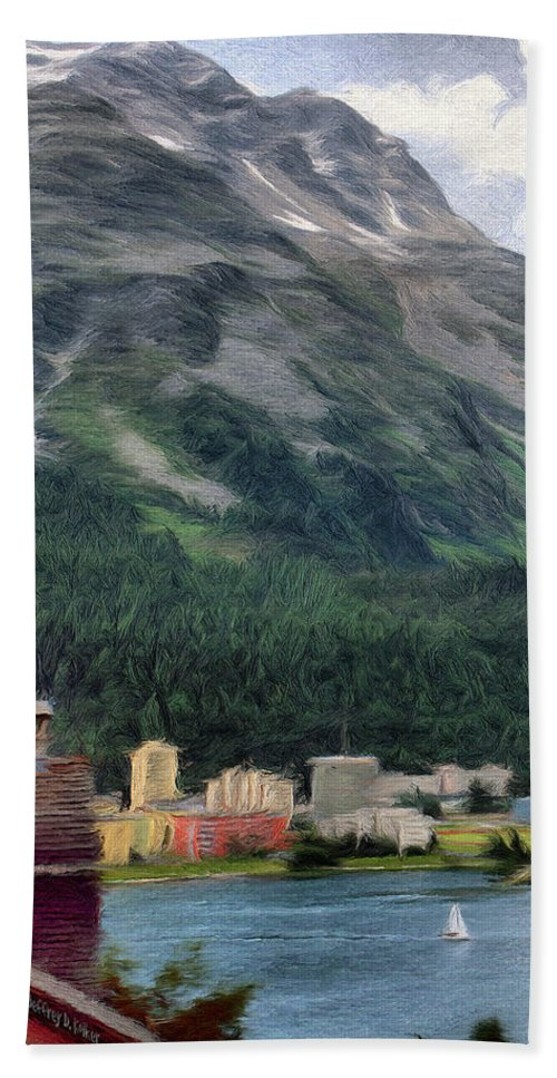 Sailing Bath Sheet featuring the painting Sailing St Moritz by Jeffrey Kolker