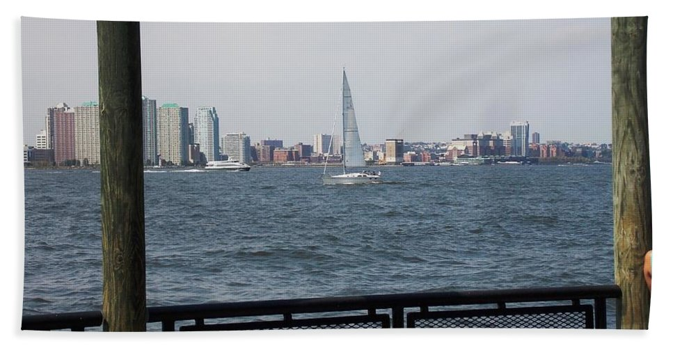 Sailboat Hand Towel featuring the photograph Sailing The Hudson River 1 by Nina Kindred