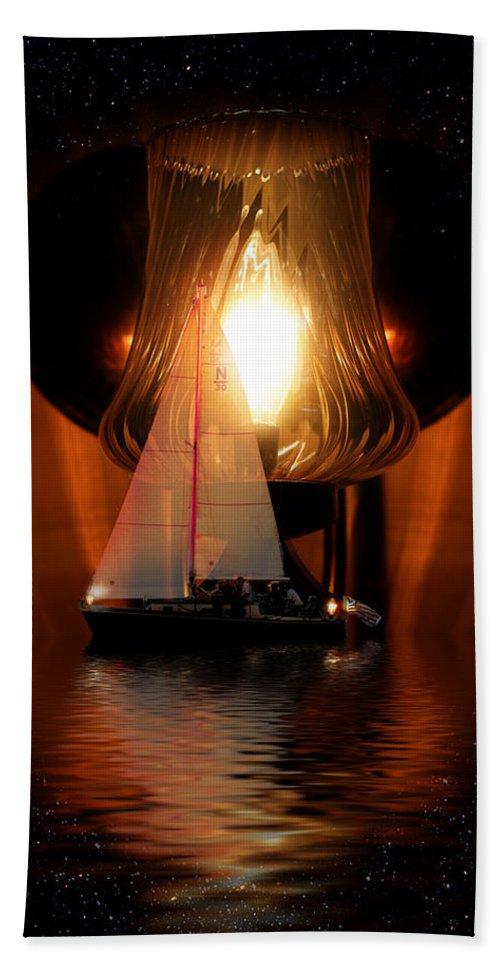 Sunrise Bath Sheet featuring the digital art Sailing Under The Stars by Gravityx9 Designs